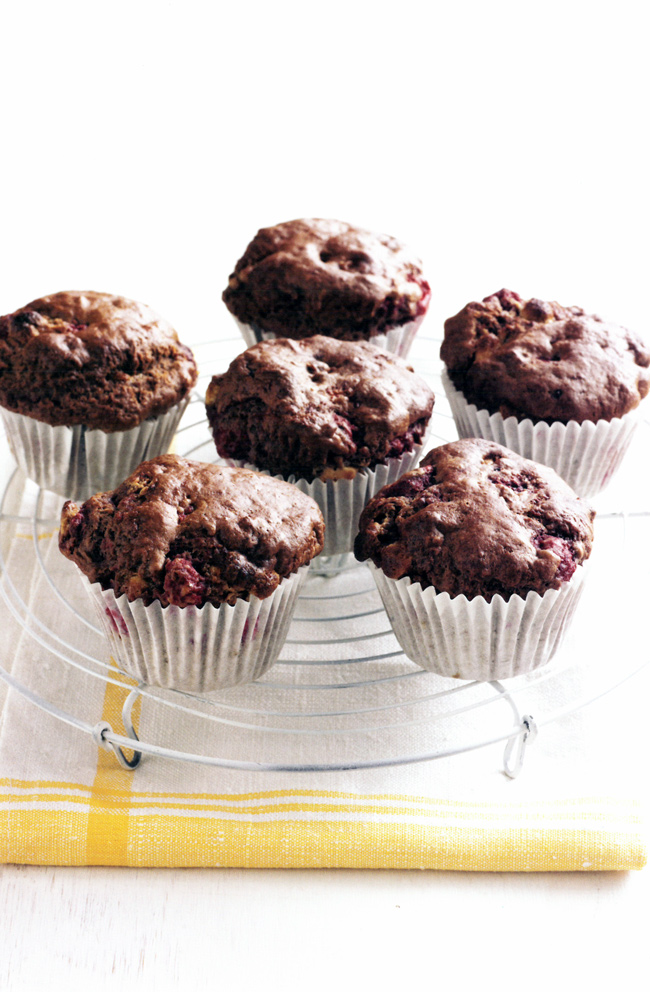 Raspberry-and-double-choc-muffins