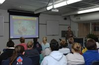 Greg Cox (Sports Dietitian) conducts a nutrition education session for athletes 2006