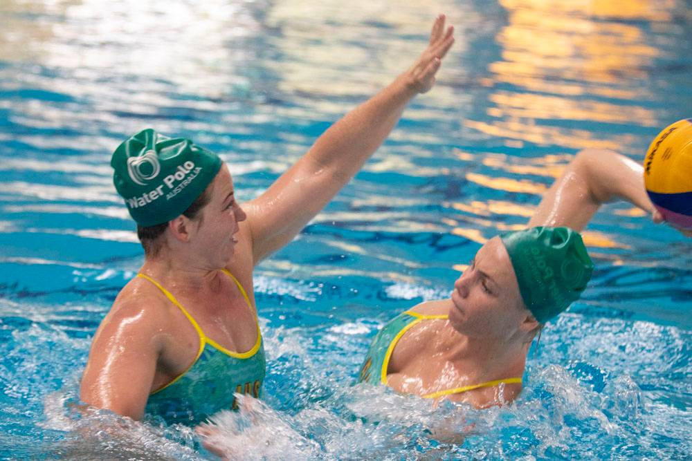 The Aussie Stingers Water Polo team trains at the AIS