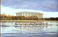AIS Rowing men's eight training National Library,Canberra 1995