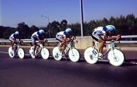 AIS Road Cycling competition men 1991 - G Rice, R Crowe, D Lawson, E McLachlan slipstream drafting