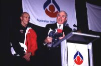 AIS Olympic and Paralympic breakfast 2000 - Prime Minister John Howard and Michael Klim speech and tracksuit presentation
