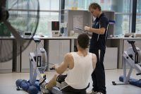AIS Physiology laboratory rowing ergometer step test, conducted by Jesse Featonby 2009