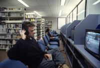 Matthew Beckenham using the audio visual facilities at the NSIC 1998