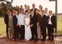 Kate's wedding photo with ex AIS swimmers