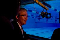 Prime Minister Kevin Rudd observes AIS swimmers training for the Beijing Olympics 2008