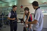 AIS Athlete Beki Lee working out on an exercise bike in the AIS recovery centre 2012