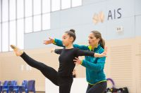 Gymnastic athlete and coach warm up 2016