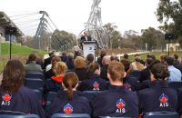 AIS Athletes listen to Senator Rod Kemp Minister for the Arts at the AMP Olympic Sculptures launch 2003