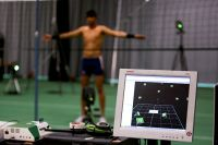 Vicon camera system capturing volleyballer Will Thwaite's movement via 3D analysis 2009