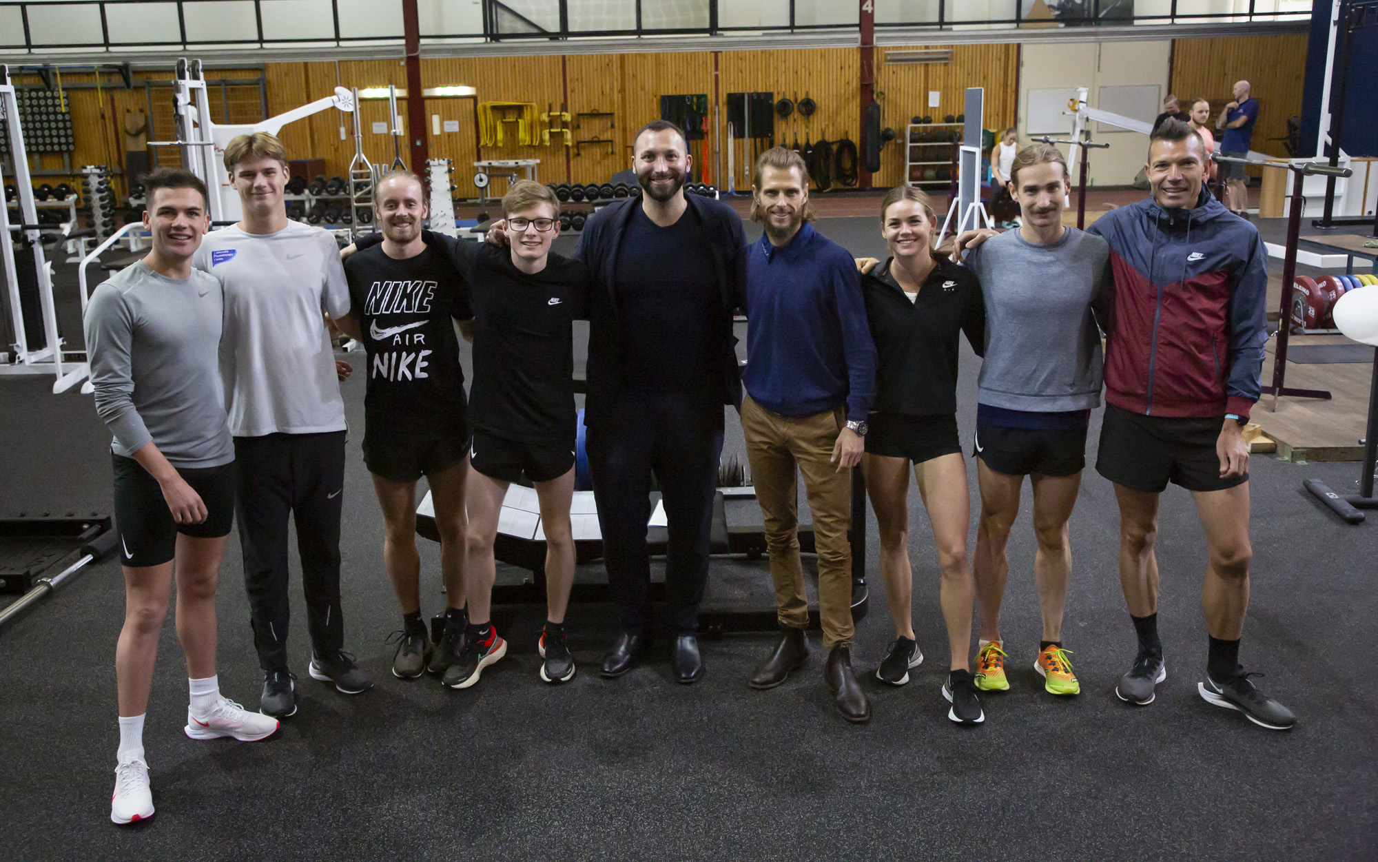 Thorpe with the AIS-based athletics squad